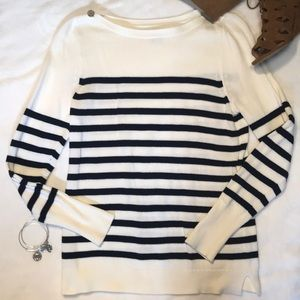 White and Navy Striped Sweater
